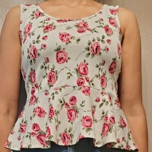White Blouse with Rose designs
